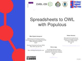 Spreadsheets to OWL with Populous