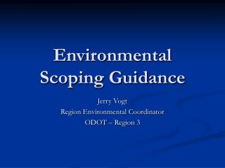 Environmental Scoping Guidance