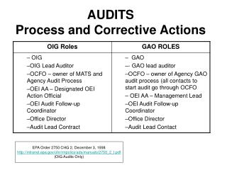 AUDITS Process and Corrective Actions