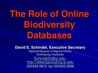 The Role of Online Biodiversity Databases