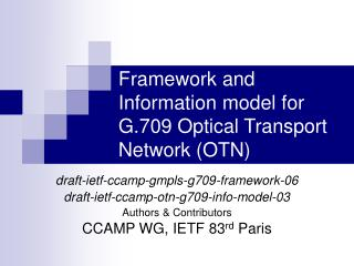 Framework and Information model for G.709 Optical Transport Network (OTN)