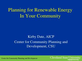 Planning for Renewable Energy In Your Community