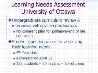 Learning Needs Assessment University of Ottawa