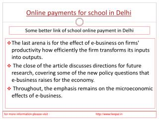 In brief about online payment for school in Delhi
