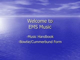 Welcome to  EMS Music