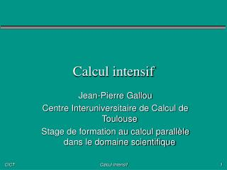 Calcul intensif
