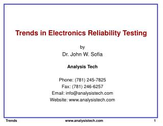 Trends in Electronics Reliability Testing