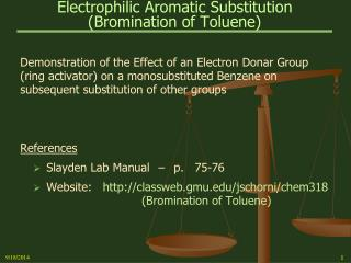 Electrophilic Aromatic Substitution (Bromination of Toluene)
