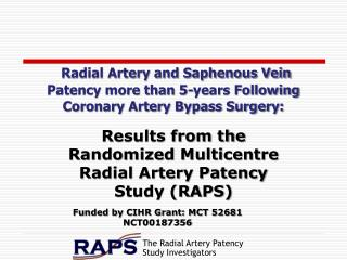 Results from the Randomized Multicentre Radial Artery Patency Study (RAPS)