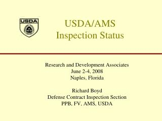 USDA/AMS  Inspection Status