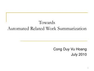 Towards Automated Related Work Summarization