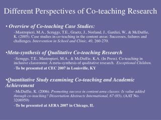 Different Perspectives of Co-teaching Research