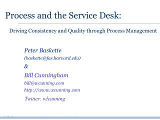 Process and the Service Desk: