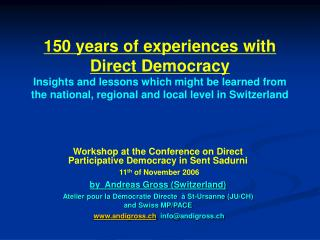 Workshop at the Conference on Direct Participative Democracy in Sent Sadurni