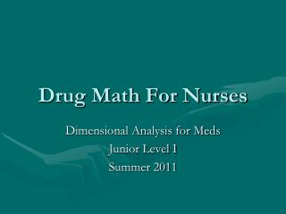 Drug Math For Nurses