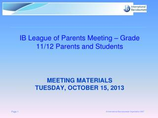 Meeting materials  Tuesday,  october  15, 2013