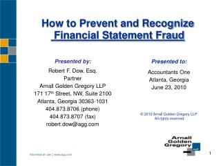 How to Prevent and Recognize  Financial Statement Fraud