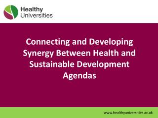 Connecting and Developing Synergy Between Health and Sustainable Development Agendas