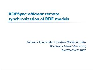 RDFSync: efficient remote synchronization of RDF models