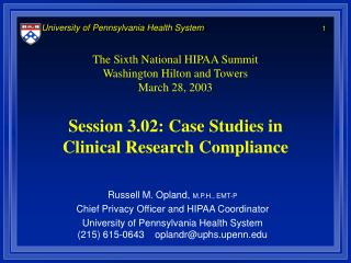 Session 3.02: Case Studies in Clinical Research Compliance