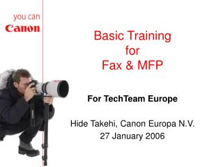 Basic Training for Fax & MFP