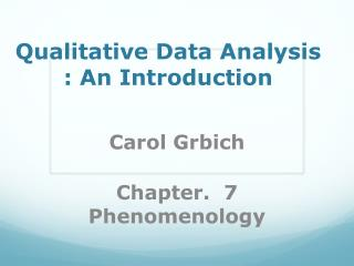 Qualitative Data Analysis : An Introduction