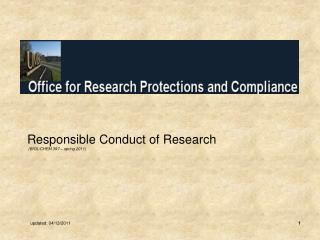 Responsible Conduct of Research  (BIOL/CHEM 397 – spring 2011)