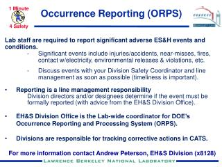 Occurrence Reporting (ORPS)