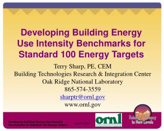 Developing Building Energy Use Intensity Benchmarks for Standard 100 Energy Targets