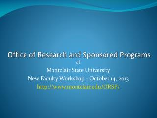 Office of Research and Sponsored Programs