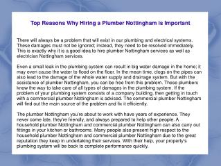 Top Reasons Why Hiring a Plumber Nottingham is Important