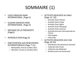 SOMMAIRE (1)