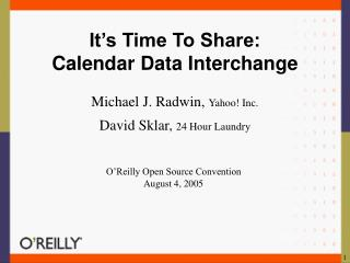 It's Time To Share: Calendar Data Interchange