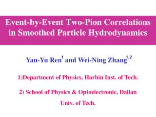 Event-by-Event Two-Pion Correlations  in Smoothed Particle Hydrodynamics