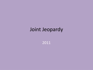 Bones and Joints Jeopardy