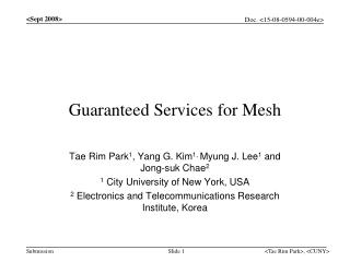 Guaranteed Services for Mesh