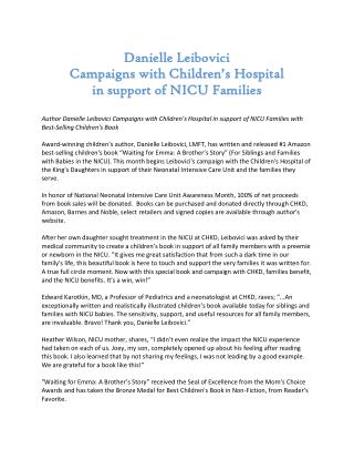 Danielle Leibovici Campaigns with Children's Hospital in sup