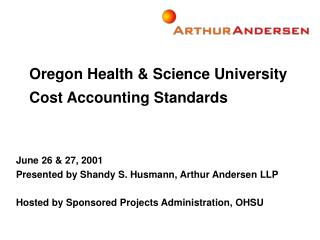 Oregon Health & Science University Cost Accounting Standards