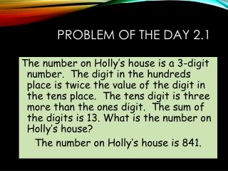Problem of the Day 2.1