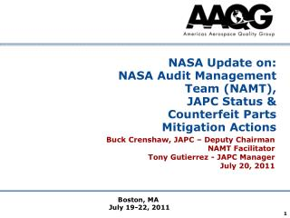 NASA Update on: NASA Audit Management Team (NAMT), JAPC Status &  Counterfeit Parts Mitigation Actions