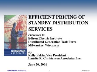EFFICIENT PRICING OF STANDBY DISTRIBUTION  SERVICES