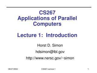 CS267 Applications of Parallel Computers Lecture 1:  Introduction
