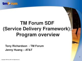 TM Forum SDF  (Service Delivery Framework): Program overview
