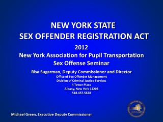 2012  New York Association for Pupil Transportation Sex Offense Seminar