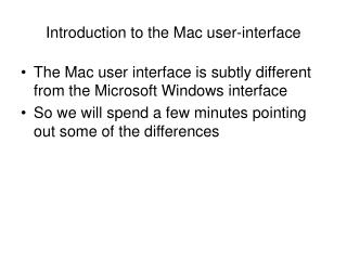 Introduction to the Mac user-interface