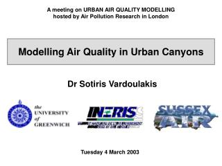 A meeting on URBAN AIR QUALITY MODELLING hosted by Air Pollution Research in London