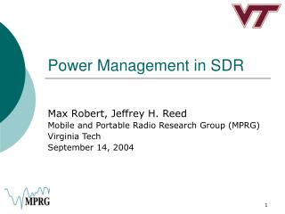 Power Management in SDR