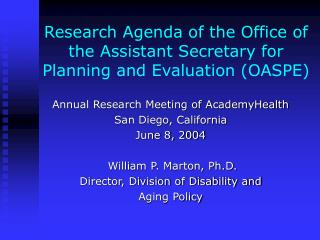 Research Agenda of the Office of the Assistant Secretary for Planning and Evaluation (OASPE)