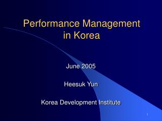 Performance Management in Korea