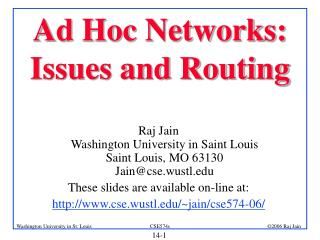 Ad Hoc Networks: Issues and Routing